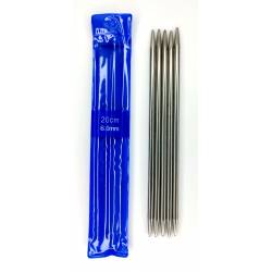 Спицы для вязания чулочные металл арт.SV-PD Ø6,0 мм/20см (5шт)