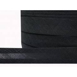 Косая бейка хлопок арт.KB-COT шир.15мм цв.черный уп.100 ярдов (91,4м)