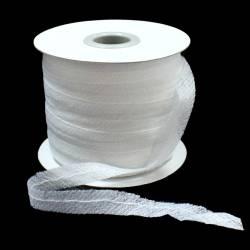 Лента нитепрошивная клеевая по косой с нитью 15мм цв.белый L-NPрул.100м